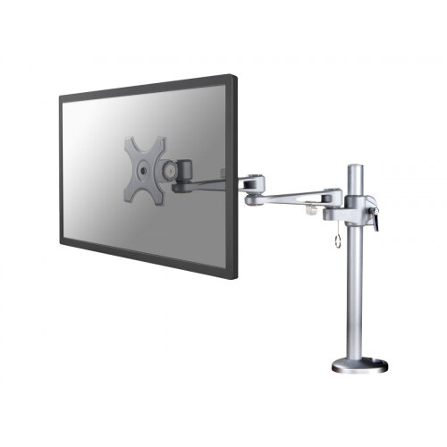 "NewStar Full Motion Desk Mount (grommet) for 10-30"" Monitor Screen, Height Adjustable - Silver - Adjustable arm for LCD display (Tilt &Turn) - silver - screen size: up to 30"" - desk-mountable"