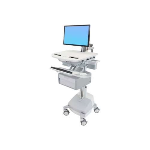"""Ergotron StyleView Cart with LCD Arm, SLA Powered, 1 Tall Drawer - Cart for LCD display / keyboard / mouse / bar code scanner / CPU (open architecture) - lockable - aluminium, zinc-plated steel, high-grade plastic - screen size: up to 24"""" - 66 Ah - Lead A"""