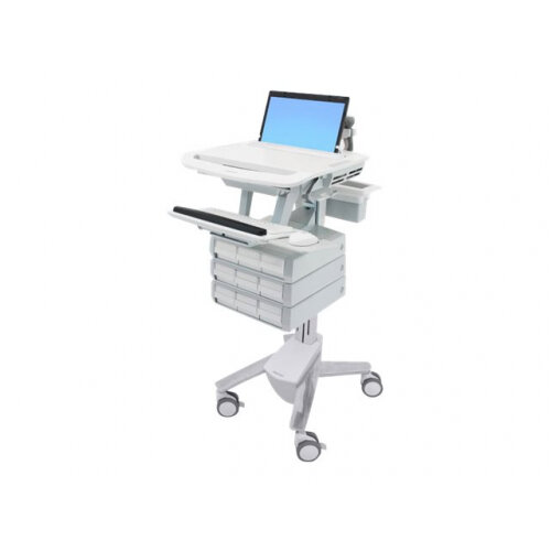 """Ergotron StyleView - Cart for notebook / keyboard / mouse / scanner (open architecture) - medical - plastic, aluminium, zinc-plated steel - grey, white, polished aluminium - screen size: 17.3"""" wide"""