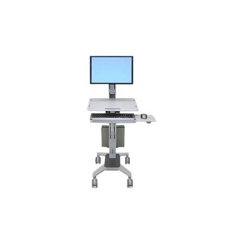"""Ergotron WorkFit C-Mod Single Display Sit-Stand Workstation - Cart for LCD display / keyboard / mouse / CPU - plastic, aluminium, steel - two-tone grey - screen size: up to 22"""""""