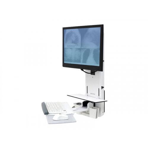 """Ergotron StyleView Sit-Stand Vertical Lift, Patient Room - Wall mount for LCD display / keyboard / mouse / bar code scanner - white - screen size: 24"""""""