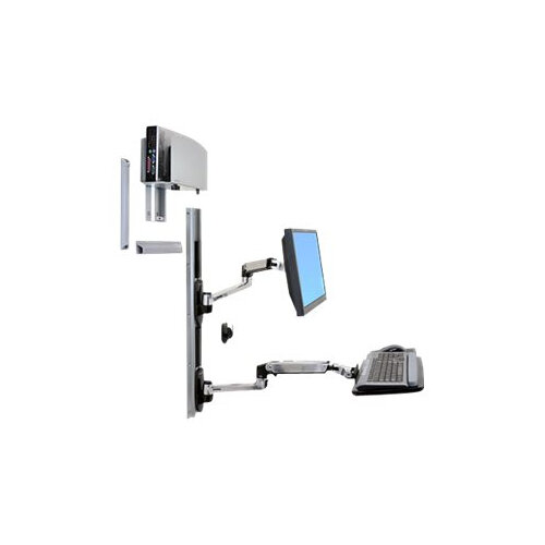 """Ergotron LX Wall Mount System - Mounting kit (wall arm, CPU holder, mouse holder, 2 track covers, keyboard arm, 2 cable channels, wrist rest) for LCD display / keyboard / mouse / CPU - polished aluminium - screen size: up to 24"""" - wall-mountable"""