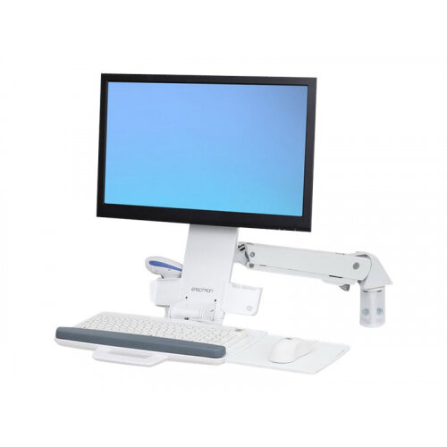 Ergotron StyleView Sit-Stand Combo Arm - Wall mount for LCD display / keyboard / mouse / bar code scanner - aluminium, high-grade plastic - white - screen size: up to 24""