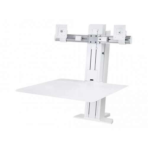 """Ergotron WorkFit-SR Dual Sit-Stand Workstation - Stand (desk clamp mount, surface, column, 2 pivots, crossbar, 2 cord wraps) for 2 LCD displays / keyboard / mouse - aluminium - white - screen size: up to 24"""" - table mount"""