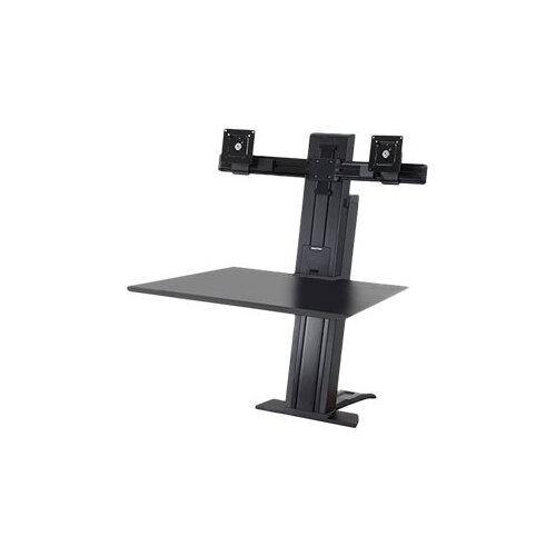 """Ergotron WorkFit-SR Dual Sit-Stand Workstation - Stand (desk clamp mount, surface, column, 2 pivots, crossbar, 2 cord wraps) for 2 LCD displays / keyboard / mouse - aluminium - black - screen size: up to 24"""" - table mount"""