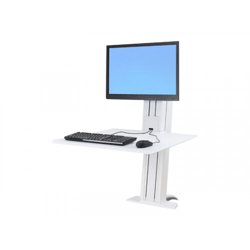 """Ergotron WorkFit-SR Sit-Stand Workstation - Stand for LCD display / keyboard - aluminium - white - screen size: up to 24"""" - desktop stand"""