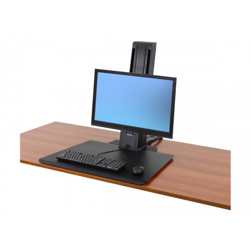 """Ergotron WorkFit-SR Sit-Stand Workstation - Stand for LCD display / keyboard - aluminium - black - screen size: up to 24"""" - desktop stand"""