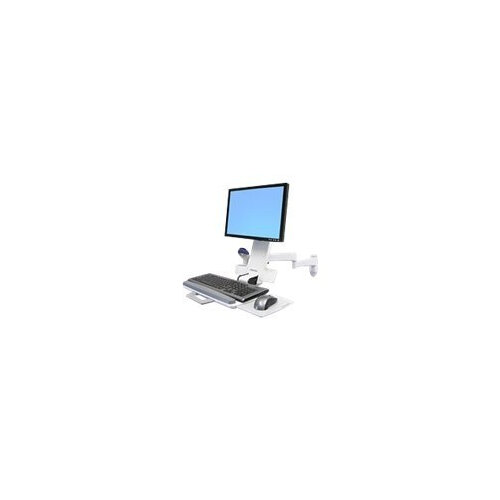 """Ergotron 200 Series Combo Arm - Mounting kit (handle, wall bracket, articulating arm, support tray, wrist rest) for LCD display / keyboard / mouse / bar code scanner - plastic, aluminium, steel - white - screen size: up to 24"""" - wall-mountable"""