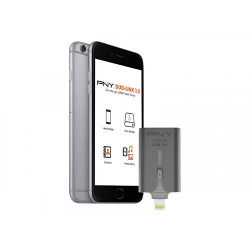 PNY Duo-Link 3.0 - USB flash drive - 128 GB - USB 3.0 / Lightning