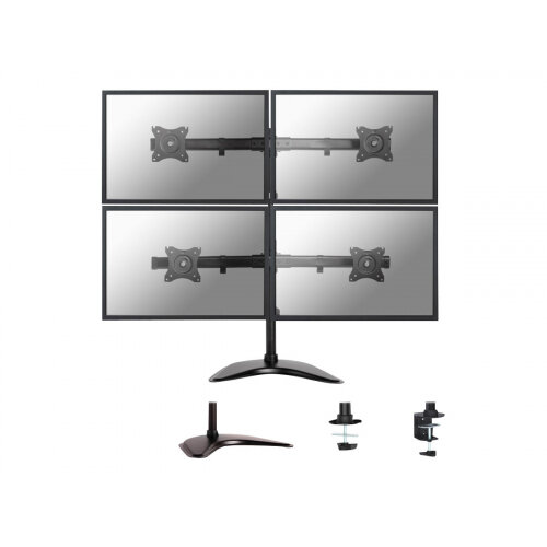 """NewStar NeoMounts Tilt/Turn/Rotate Quad Desk Mount (stand, clamp &grommet) for four 10-27"""" Monitor Screens, Height Adjustable - Black - Stand for 4 LCD displays - black - screen size: 10""""-27"""" - table-top, table mount, desk-mountable"""