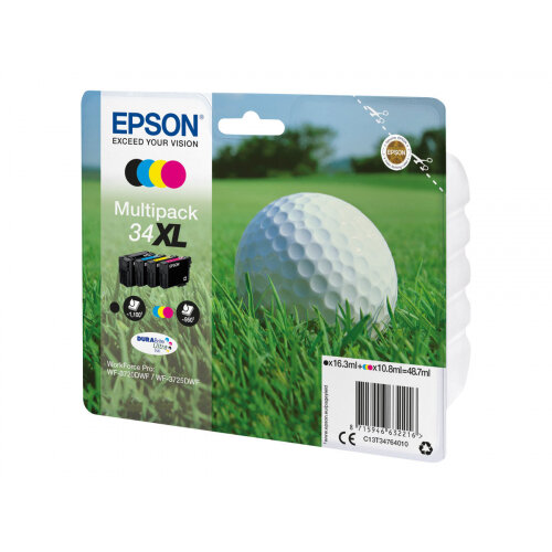 Epson 34XL - 4-pack - XL - black, yellow, cyan, magenta - original - blister - ink cartridge - for WorkForce Pro WF-3720, WF-3720DWF, WF-3725DWF