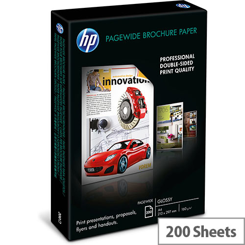 HP - Glossy - bright white - A4 (210 x 297 mm) - 160 g/m² - 200 sheet(s) brochure paper - for PageWide Managed Color MFP E77660; PageWide Pro 77X
