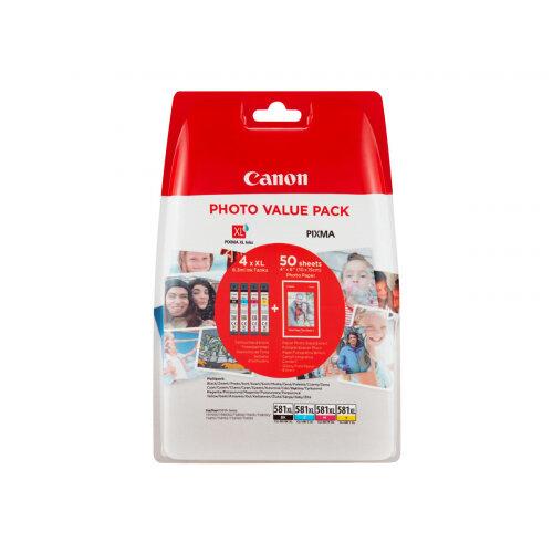 Canon CLI-581XL C/M/Y/BK Photo Value Pack - 4-pack - 8.3 ml - High Yield - black, yellow, cyan, magenta - original - ink tank / paper kit - for PIXMA TS6150, TS6151, TS8150, TS8151, TS8152, TS9150, TS9155