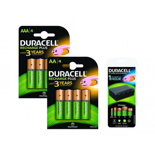 Duracell - External battery pack / battery charger - 8xAA/AAA, 4xC/D, 1x9V - 450 mA - 8 output connectors - United Kingdom - with 4 x AA rechargeable batteries, 4 x AAA rechargeable batteries