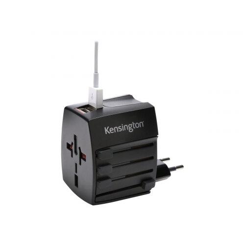 Kensington International Travel Adapter - Power adapter (BS 1363, NEMA 1-15, Europlug, AS/NZS 3112, 2 x USB) - black - Australia, China, Japan, United Kingdom, United States, Europe