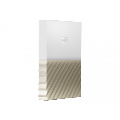 WD My Passport Ultra WDBTLG0020BGD - Hard drive - encrypted - 2 TB - external (portable) - USB 3.0 - 256-bit AES - white-gold