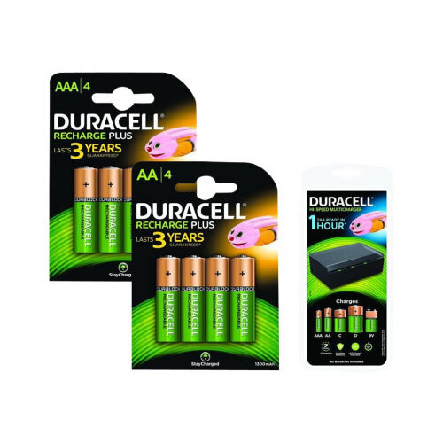 Duracell - External battery pack / battery charger - 8xAA/AAA, 4xC/D, 1x9V - 450 mA - 8 output connectors - Europe - with 4 x AA rechargeable batteries, 4 x AAA rechargeable batteries