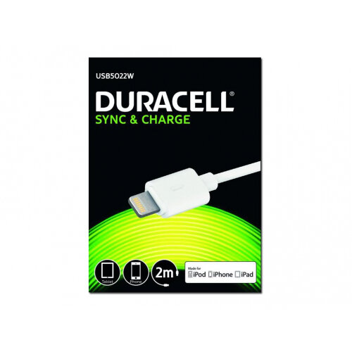 Duracell - Lightning cable - Lightning (M) to USB (M) - 2 m - white - for Apple iPad/iPhone/iPod (Lightning)
