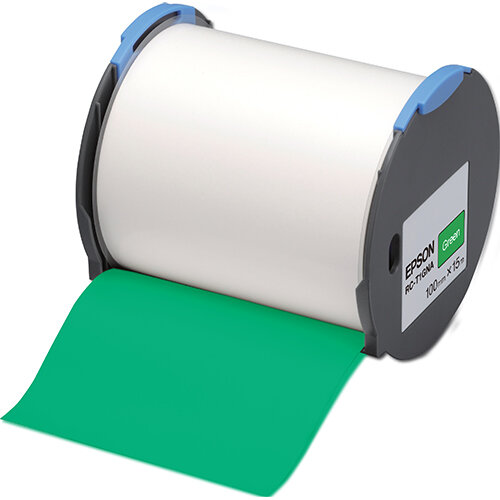 Epson RC-T1GNA - Polyolefin - self-adhesive - green - Roll (10 cm x 15 m) 1 roll(s) plastic tape - for LabelWorks Pro100