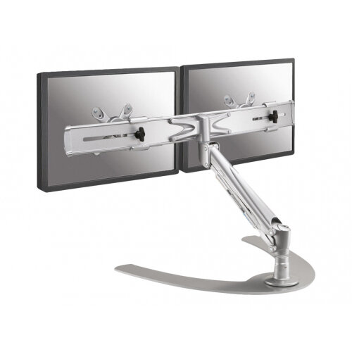 "NewStar Full Motion Dual Desk Stand for two 10-24"" Monitor Screens, Height Adjustable (gas spring) - Silver - Stand for 2 LCD displays - silver - screen size: 10""-24"" - table-top"