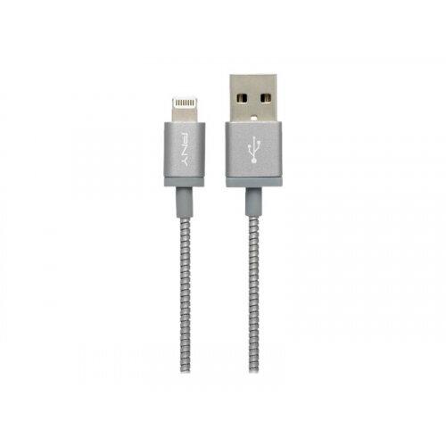PNY Charge &Sync - Lightning cable - USB (M) to Lightning (M) - 1.2 m - metallic grey - for Apple iPad/iPhone/iPod (Lightning)