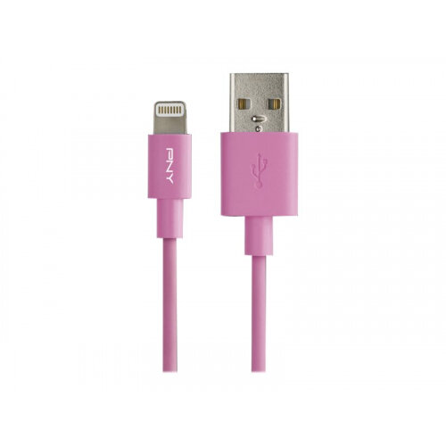 PNY Charge &Sync - Lightning cable - USB (M) to Lightning (M) - 1.2 m - pink - for Apple iPad/iPhone/iPod (Lightning)