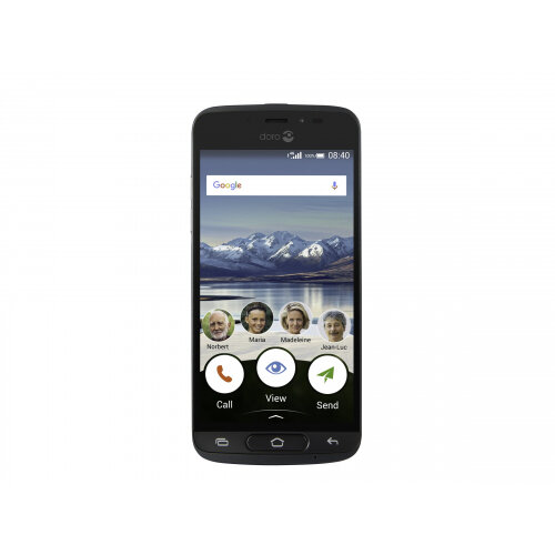 "Doro 8040 - Smartphone - 4G LTE - 16 GB - microSDHC slot - GSM - 5"" - 1280 x 720 pixels - 8 MP (2 MP front camera) - Android - black"