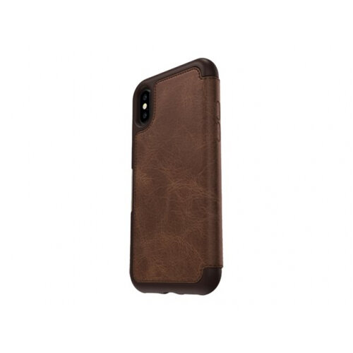 OtterBox Strada Series Folio Apple iPhone X - Limited Edition - flip cover for mobile phone - leather, polycarbonate - espresso - for Apple iPhone X