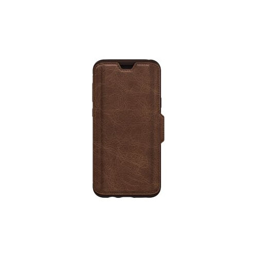 OtterBox Strada Series Folio - Flip cover for mobile phone - leather, polycarbonate - espresso brown - for Samsung Galaxy S9+