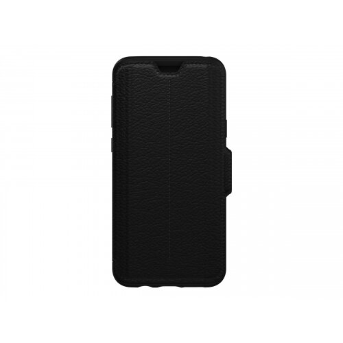 OtterBox Strada Series Folio - Flip cover for mobile phone - metal, leather, polycarbonate - shadow black