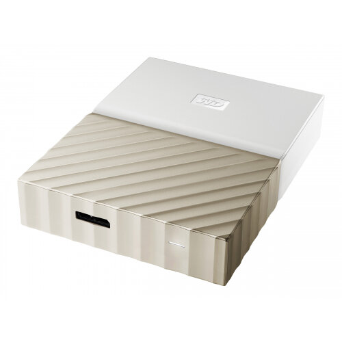 WD My Passport Ultra WDBFKT0020BGD - Hard drive - encrypted - 2 TB - external (portable) - USB 3.0 - 256-bit AES - white-gold
