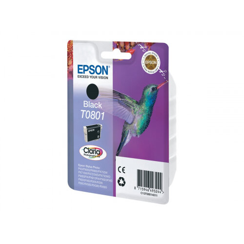 Epson (T0801) Black Original Ink Cartridge Blister With RF/Acoustic Alarm Ink Cartridge For Stylus Photo P50, PX650, PX660, PX700, PX710, PX720, PX730, PX800, PX810, PX820, PX830 (C13T08014021)