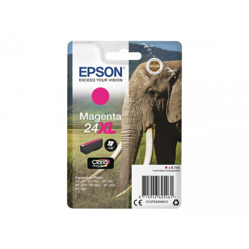 Epson 24XL - 8.7 ml - XL - magenta - original - ink cartridge - for Expression Photo XP-55, 750, 760, 850, 860, 950, 960; Expression Premium XP-750, 850