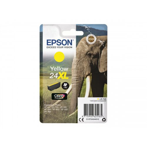Epson 24XL - 8.7 ml - XL - yellow - original - ink cartridge - for Expression Photo XP-55, 750, 760, 850, 860, 950, 960; Expression Premium XP-750, 850