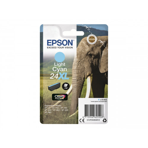 Epson 24XL - 9.8 ml - XL - cyan - original - ink cartridge - for Expression Photo XP-55, 750, 760, 850, 860, 950, 960; Expression Premium XP-750, 850