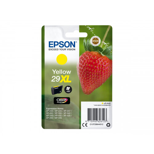 Epson 29XL - 6.4 ml - XL - yellow - original - blister with RF/acoustic alarm - ink cartridge - for Expression Home XP-235, 245, 247, 332, 335, 342, 345, 432, 435, 442, 445, 455