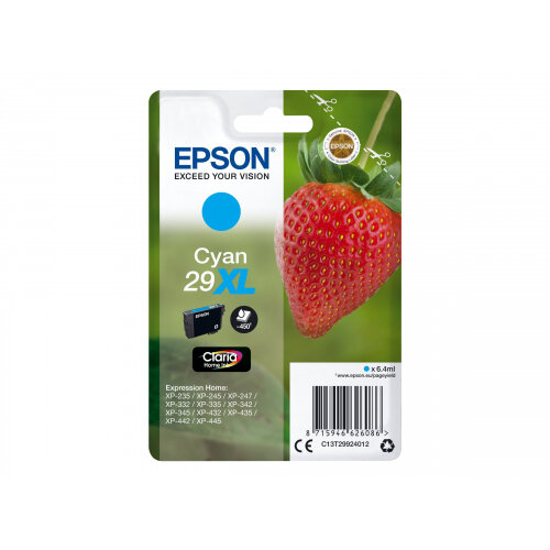 Epson 29XL - 6.4 ml - XL - cyan - original - blister with RF/acoustic alarm - ink cartridge - for Expression Home XP-235, 245, 247, 332, 335, 342, 345, 432, 435, 442, 445, 455