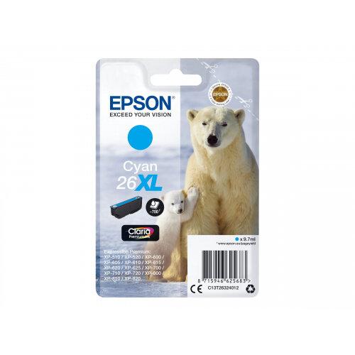 Epson 26XL - 9.7 ml - XL - cyan - original - blister - ink cartridge - for Expression Premium XP-510, 520, 600, 605, 610, 615, 620, 625, 700, 710, 720, 800, 810, 820