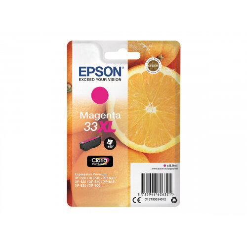 Epson 33XL - 8.9 ml - XL - magenta - original - blister - ink cartridge - for Expression Home XP-635, 830; Expression Premium XP-530, 540, 630, 635, 640, 645, 830, 900