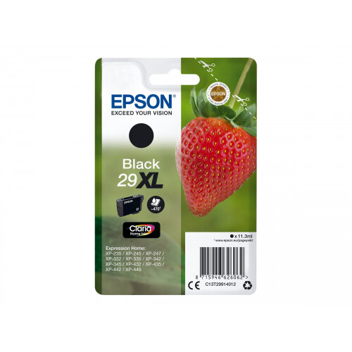 Epson 29XL - 11.3 ml - XL - black - original - blister with RF/acoustic alarm - ink cartridge - for Expression Home XP-235, 245, 247, 332, 335, 342, 345, 432, 435, 442, 445, 455
