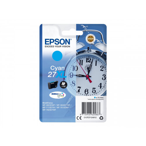 Epson 27XL - 17.7 ml - XL - cyan - original - ink cartridge - for WorkForce WF-3620, WF-3640, WF-7110, WF-7210, WF-7610, WF-7620, WF-7710, WF-7715, WF-7720