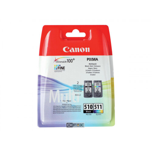 Canon PG-510 / CL-511 Multi pack - 2-pack - black, colour (cyan, magenta, yellow) - original - ink cartridge - for PIXMA MP230, MP237, MP252, MP258, MP270, MP280, MP282, MP499, MX350, MX360, MX410, MX420