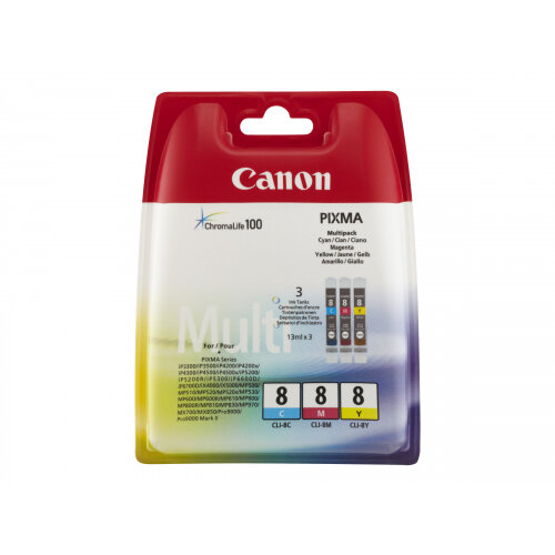 Canon CLI-8 Multipack - 3-pack - yellow, cyan, magenta - original - ink tank - for PIXMA iP6600D, iP6700D, Pro9000, Pro9000 Mark II