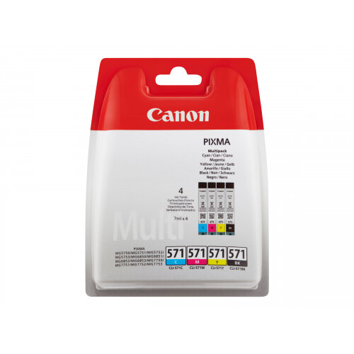 Canon CLI-571 C/M/Y/BK Value Pack - 4-pack - 7 ml - black, yellow, cyan, magenta - original - ink tank - for PIXMA TS5051, TS5053, TS5055, TS6050, TS6051, TS6052, TS8051, TS8052, TS9050, TS9055