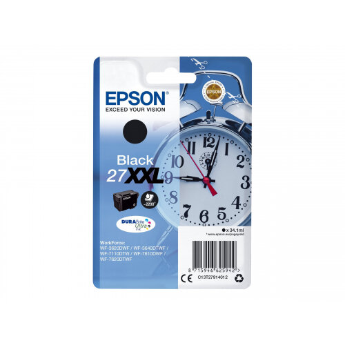 Epson 27XXL - 34.1 ml - XL - black - original - blister - ink cartridge - for WorkForce WF-3620, WF-3640, WF-7110, WF-7210, WF-7610, WF-7620, WF-7710, WF-7715, WF-7720