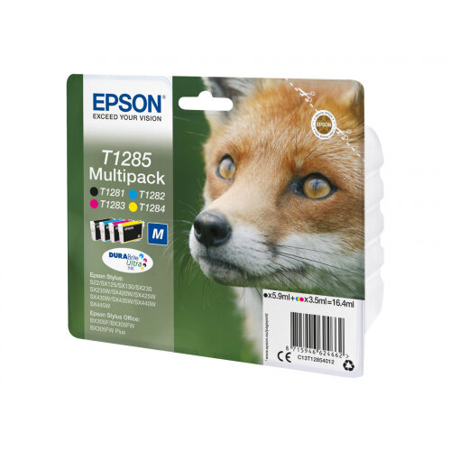 Epson T1285 Multipack - 4-pack - black, yellow, cyan, magenta - original - blister with RF/acoustic alarm - ink cartridge - for Stylus S22, SX130, SX230, SX235, SX430, SX435, SX438, SX440, SX445; Stylus Office BX305