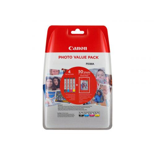 Canon CLI-571 (0386C006) Photo Value Pack 4-pack Capacity 7ml Black, Yellow, Cyan, Magenta 100 x 150mm 50 Sheet(s) Ink Tank / Paper Kit For PIXMA TS5051, TS5053, TS5055, TS6050, TS6051, TS6052, TS8051, TS8052, TS9050, TS9055