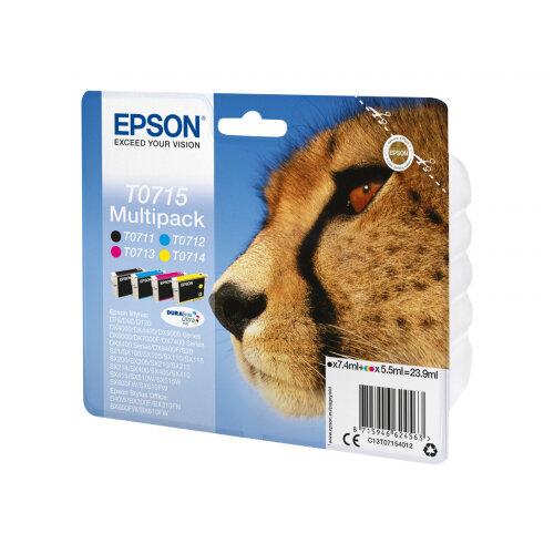 Epson T0715 Multipack - 4-pack - 23.9 ml - black, yellow, cyan, magenta - original - ink cartridge - for Stylus DX9400, SX115, SX210, SX215, SX218, SX415, SX515, SX610; Stylus Office BX310, BX610