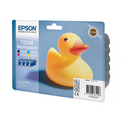 Epson Multipack T0556 - 4-pack - black, yellow, cyan, magenta - original - blister with RF/acoustic alarm - ink cartridge - for Stylus Photo R240, R245, RX420, RX425, RX520