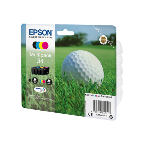 Epson 34 - 4-pack - black, yellow, cyan, magenta - original - blister - ink cartridge - for WorkForce Pro WF-3720, WF-3720DWF, WF-3725DWF